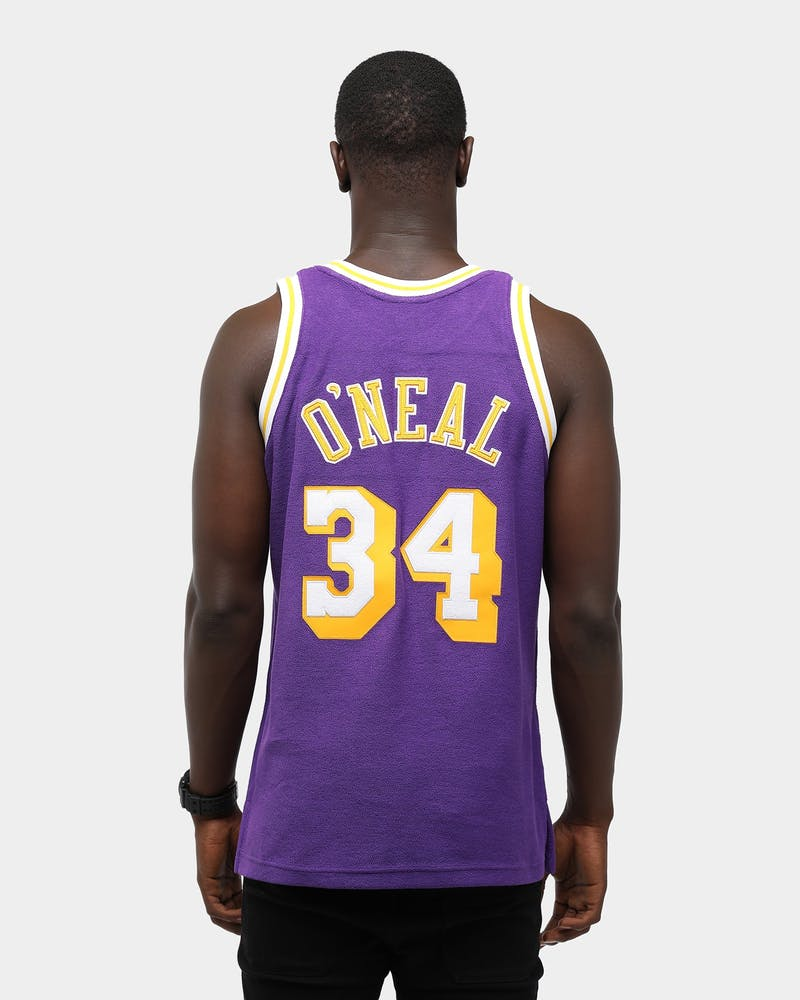 Mitchell & Ness Men's Los Angeles Lakers Shaquille O'Neal '97 Rev Fleece Swingman NBA Jersey Purple