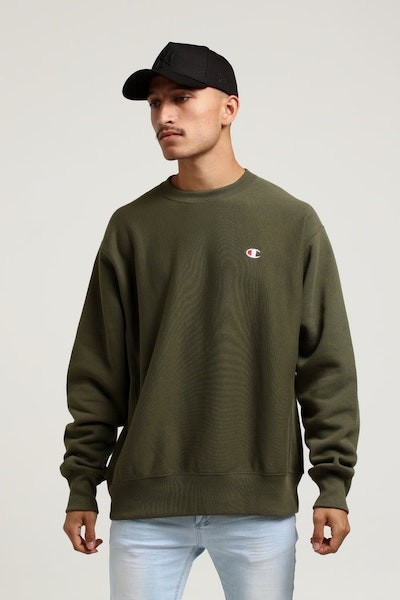 Champion Rev Weave Crew Forest Green