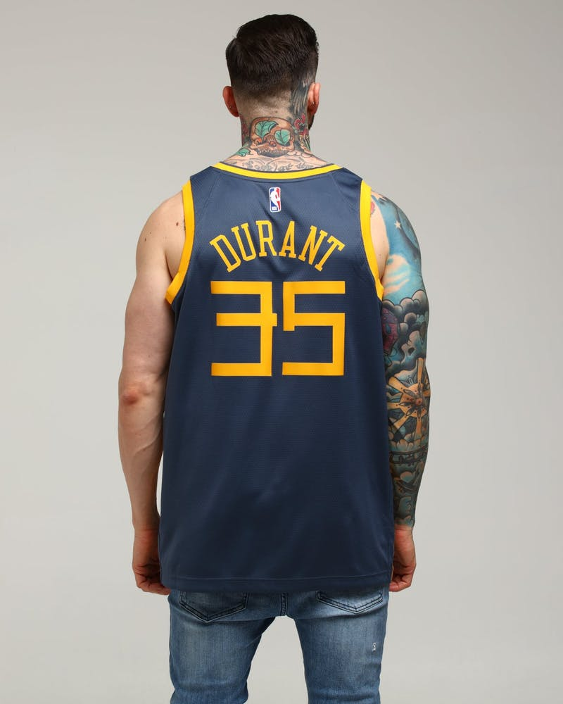 Nike Golden State Warriors Kevin Durant #35 City Edition Swingman NBA Jersey Blue