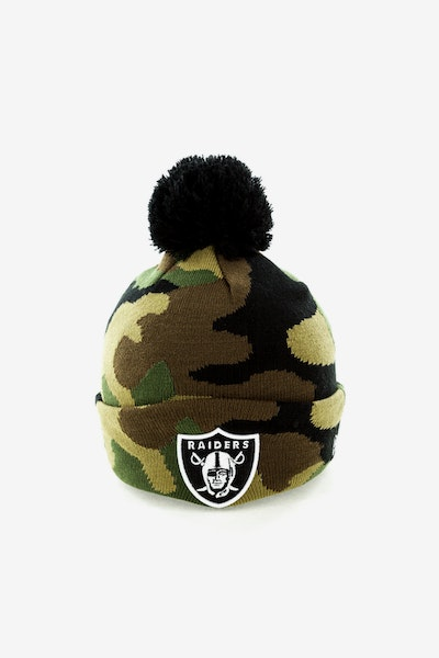 New Era Oakland Raiders Pom Knit Beanie Camo