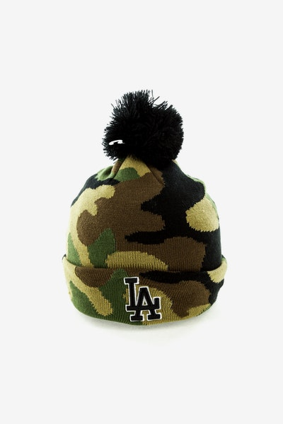New Era Los Angeles Dodgers Pom Knit Beanie Camo