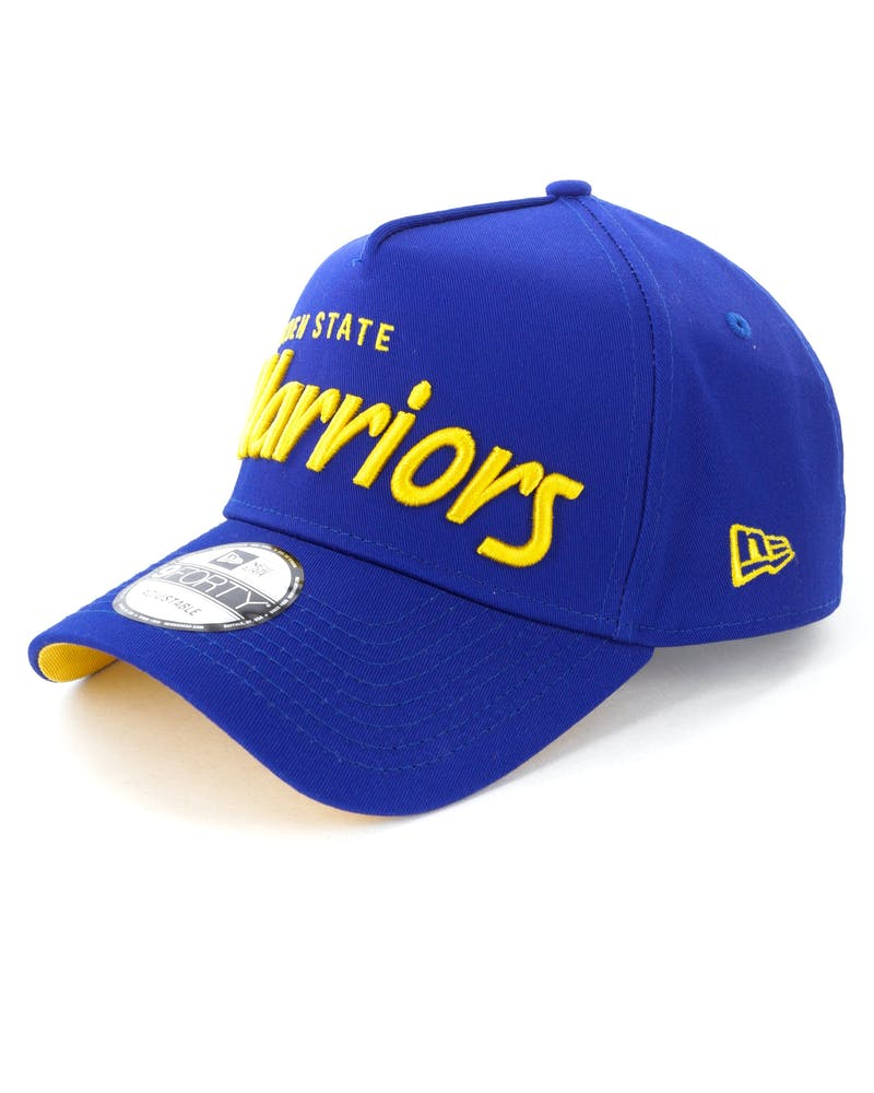 New Era Golden State Warriors Script 9FORTY A-Frame Snapback Royal/Yellow