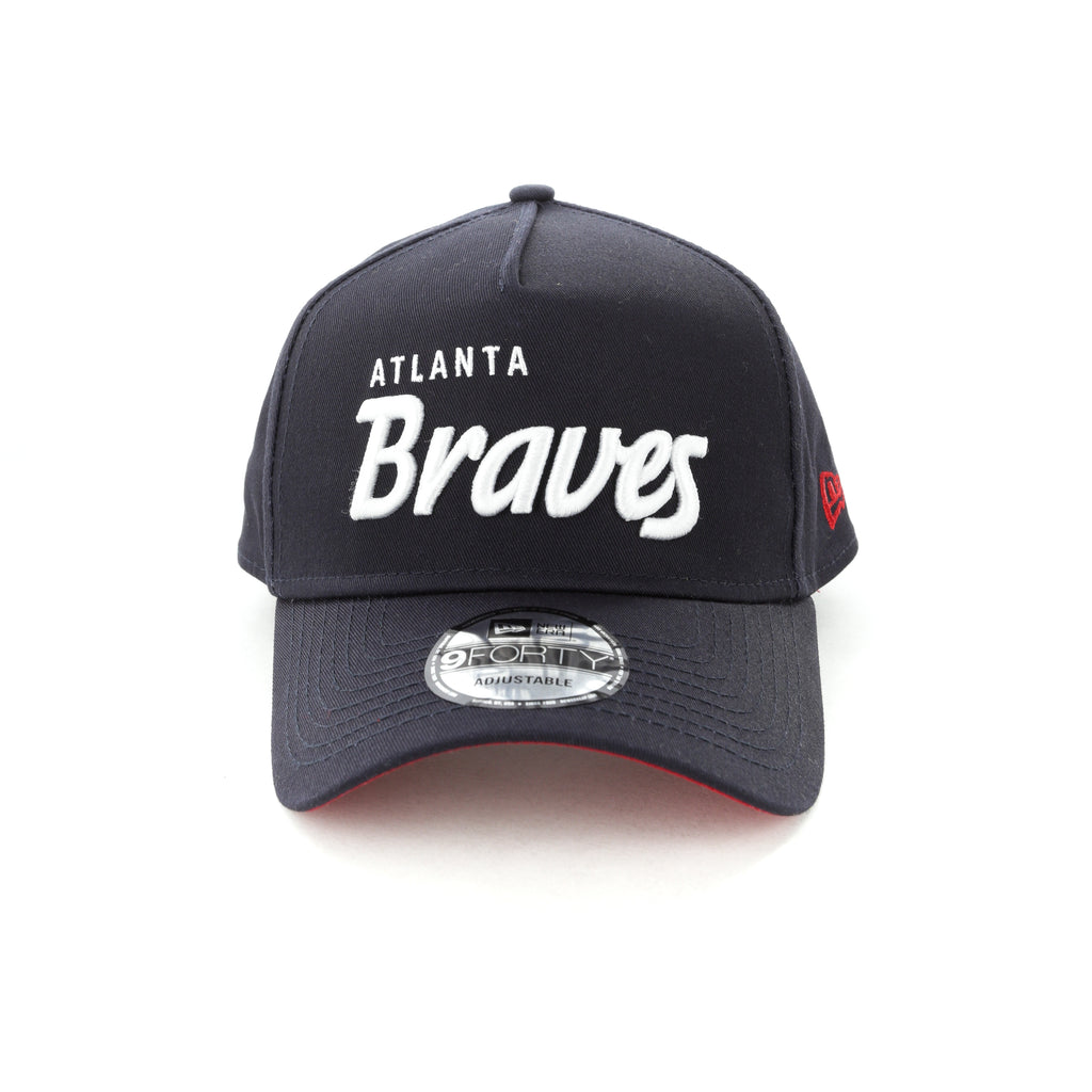 ... promo code for new era atlanta braves script 9forty a frame snapback  navy white abd8d 6d30c d5eb9907a7f1