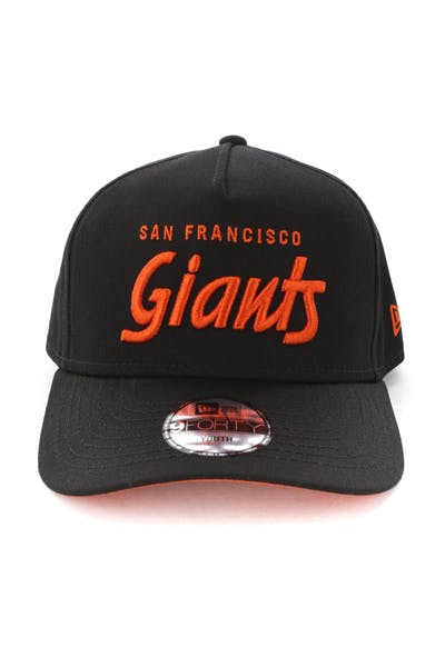 info for f7d35 b46df New Era Youth San Francisco Giants 940 Script 9FORTY A-Frame Snapback  Black Orange