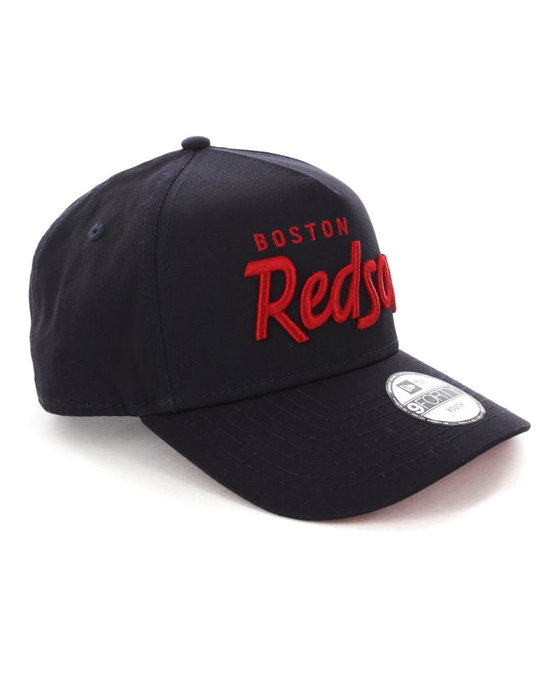 New Era Youth Script Boston Red Sox 9FORTY A-Frame Snapback Navy/Red