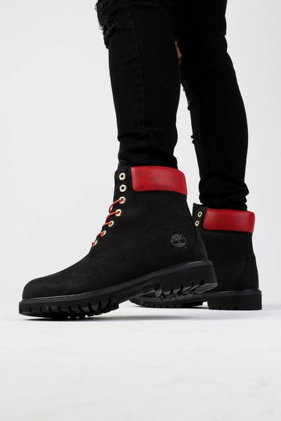"Timberland 6"" Premium Boot Black/Red"