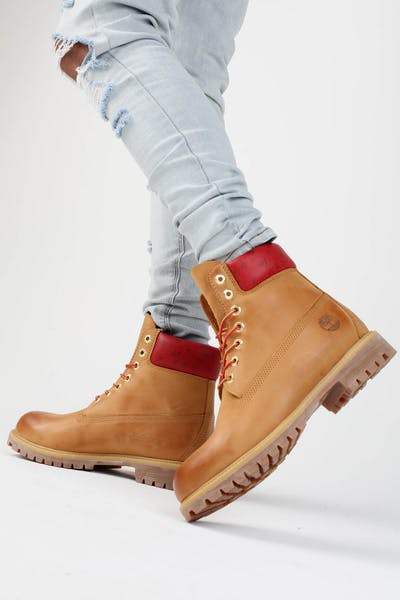 "Timberland 6"" Premium Boot Wheat/Red"