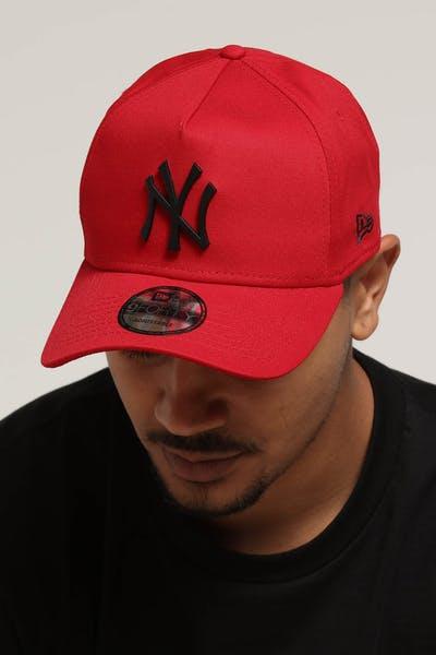 fef8ecd877709 New Era New York Yankees 9FORTY A-Frame Metal Badge Snapback Scarlet Black
