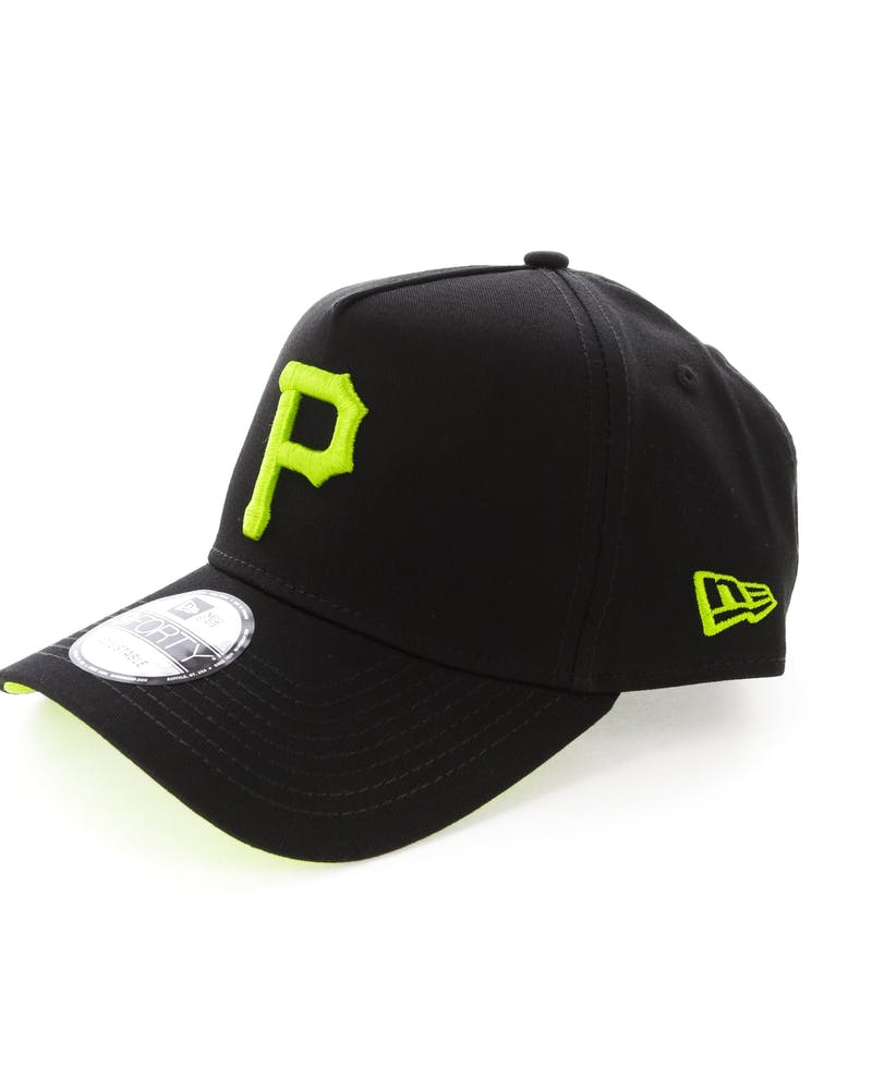 New Era Pittsburgh Pirates 9FORTY A-Frame UV Snapback Black/Lime