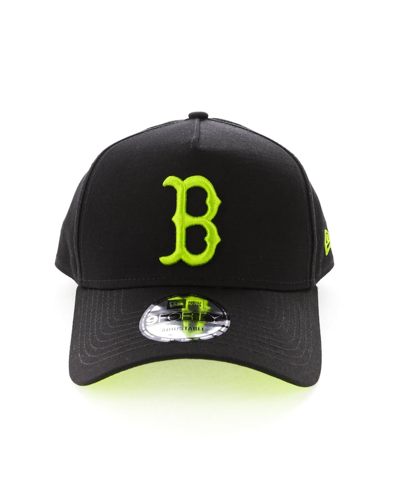 New Era Boston Red Sox 9FORTY A-Frame UV Snapback Black/Lime