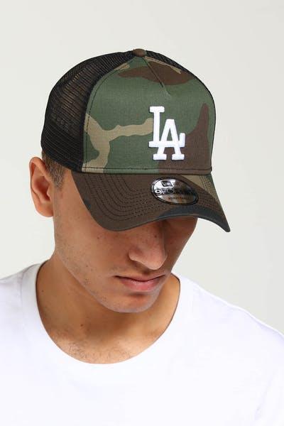 half off 524e5 b951a New Era Los Angeles Dodgers CK 9FORTY A-Frame Trucker Snapback Camo Black  ...