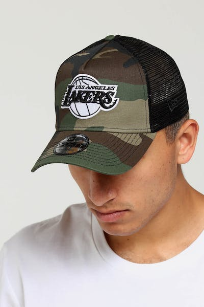 d8686a13125 New Era Los Angeles Lakers CK 9FORTY A-Frame Trucker Snapback Camo Black