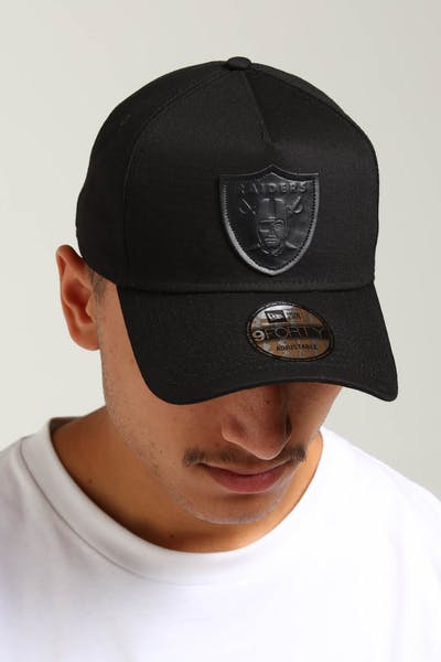 New Era Raiders 9FORTY A-Frame Leather Logo Strapback Black Leather