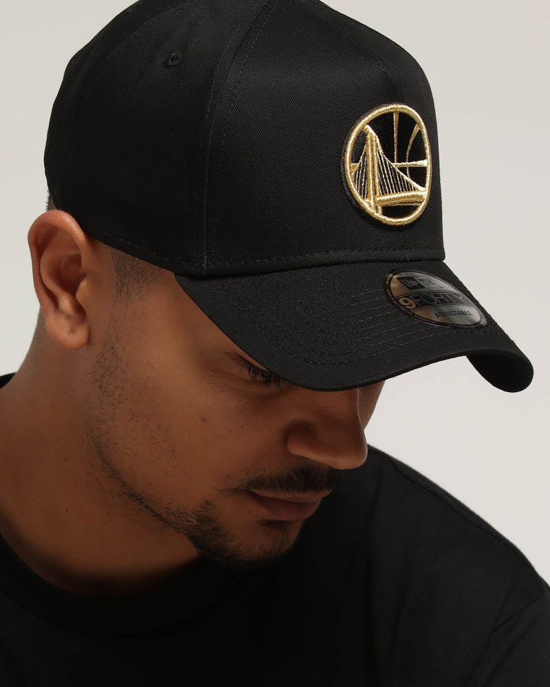 New Era Golden State Warriors 9FORTY A-Frame Snapback Outline Black/Gold