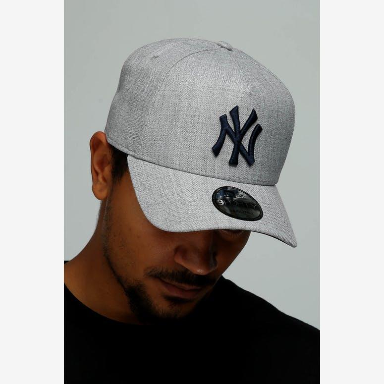 8c597188942b8 New Era New York Yankees 9FORTY A-Frame Snapback Heather Grey Navy –  Culture Kings NZ