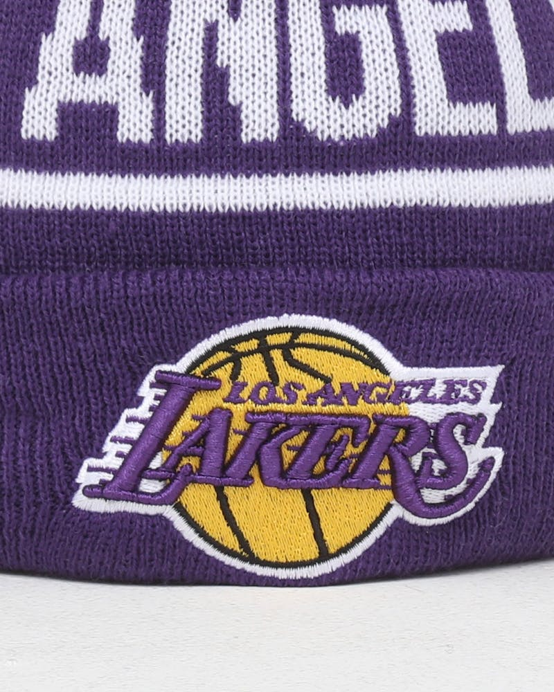 New Era Kids Los Angeles Lakers 6Dart Pom Knit Purple
