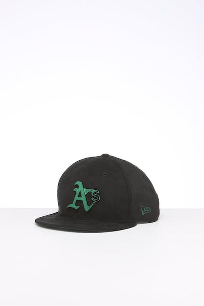 New Era Oakland Athletics 9FIFTY Suede Metal Badge Snapback Black/OTC