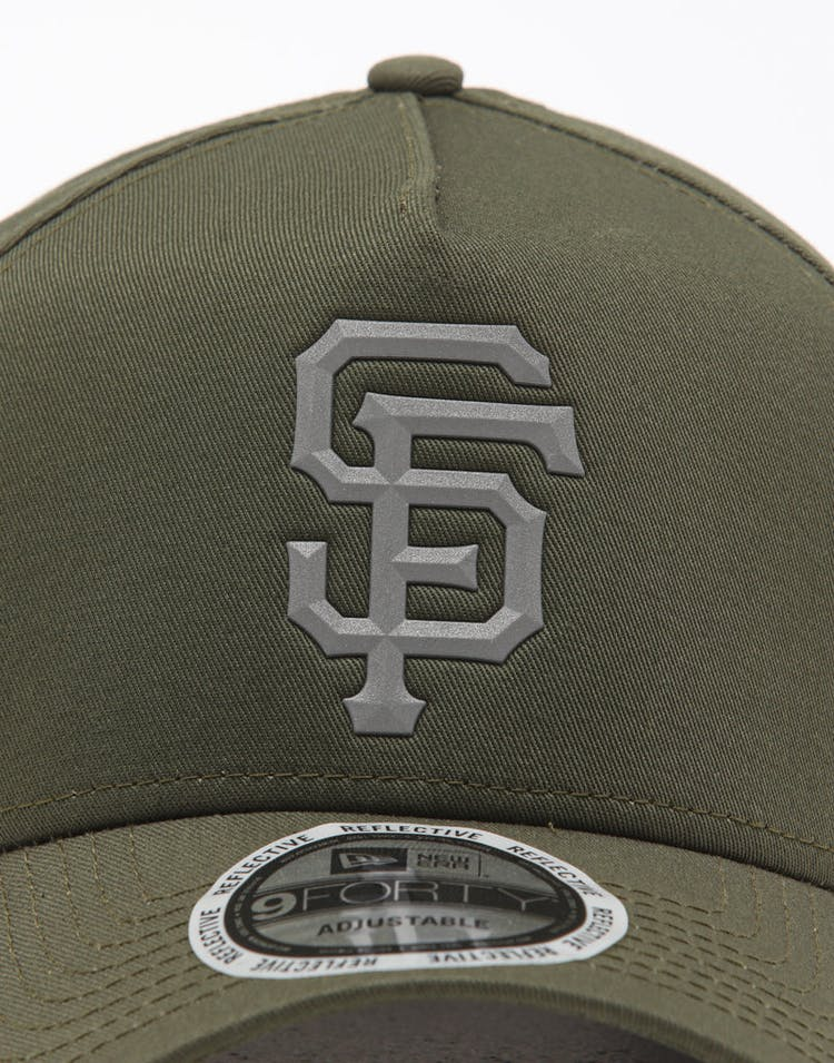 New Era San Francisco Giants 9FORTY A-Frame Reflective Logo Snapback Olive/3M