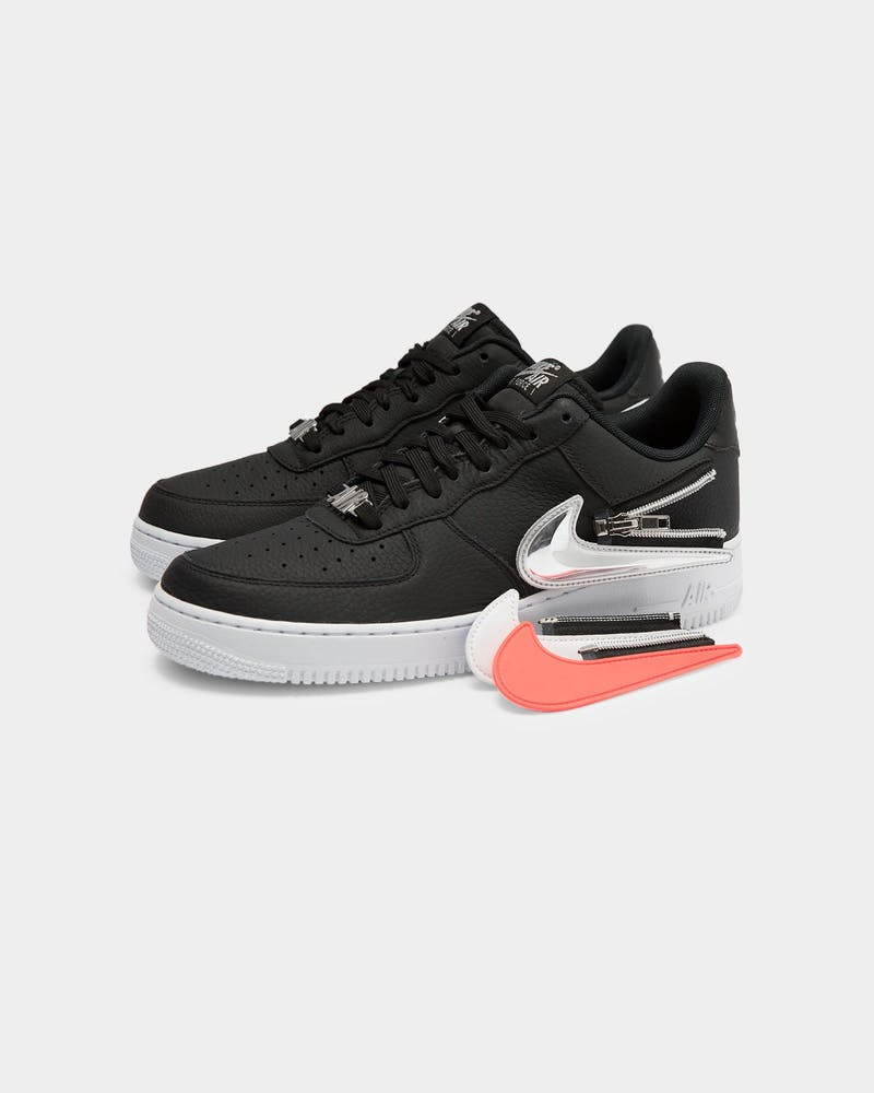 Nike Men's Air Force 1 '07 Premium 'Zip Swoosh' Black/White/Laser Crimson