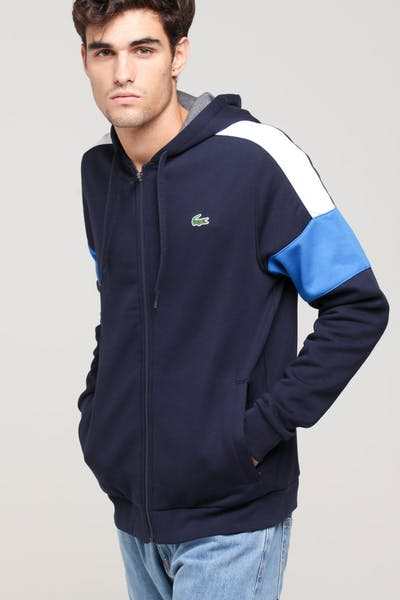 Lacoste Colour Block Hoodie Navy/White/Blue