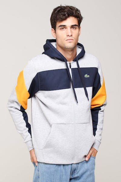 Lacoste Colour Block Hoodie Silver/Navy/Yellow
