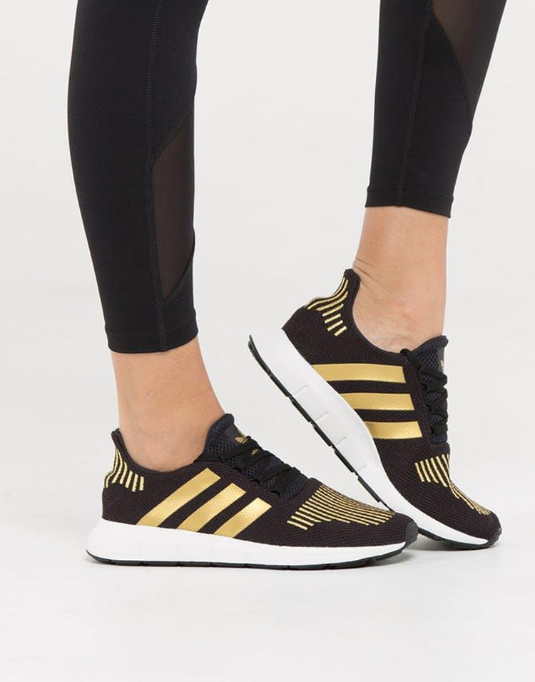 be1f7b6a4d41 Adidas Originals Women's Swift Run Black/Gold/White | CG4145 ...