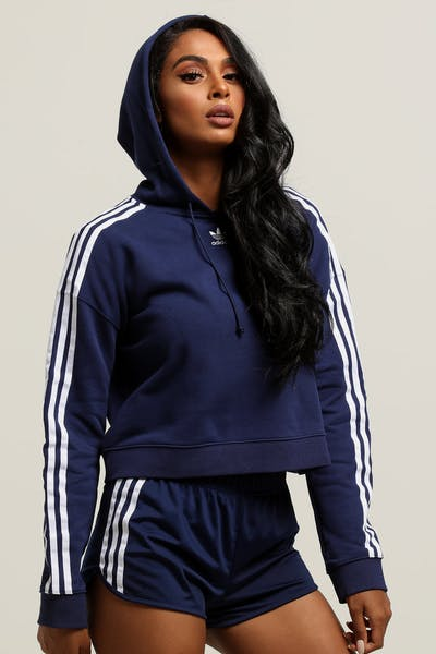 Adidas Women's Cropped Hoodie Dark Blue