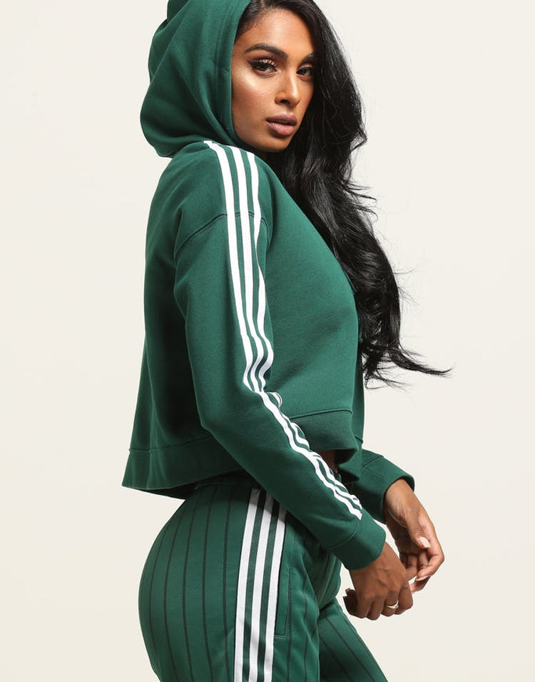 Adidas Women's Cropped Hoodie Dark Green