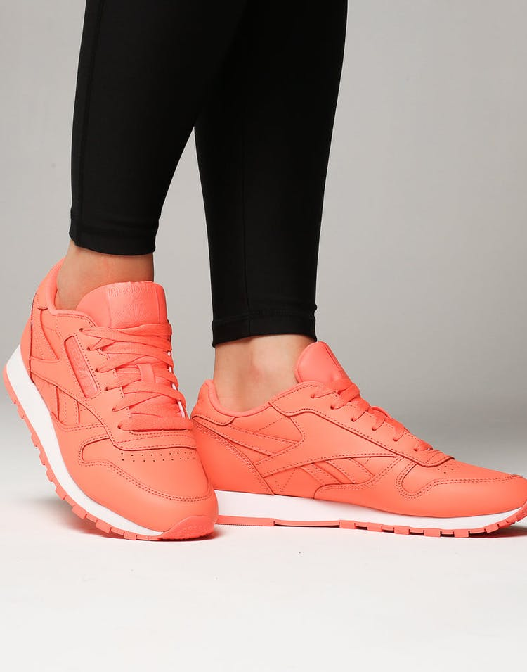 9267c6f639f1d Reebok Women s Classic Leather Coral White – Culture Kings NZ