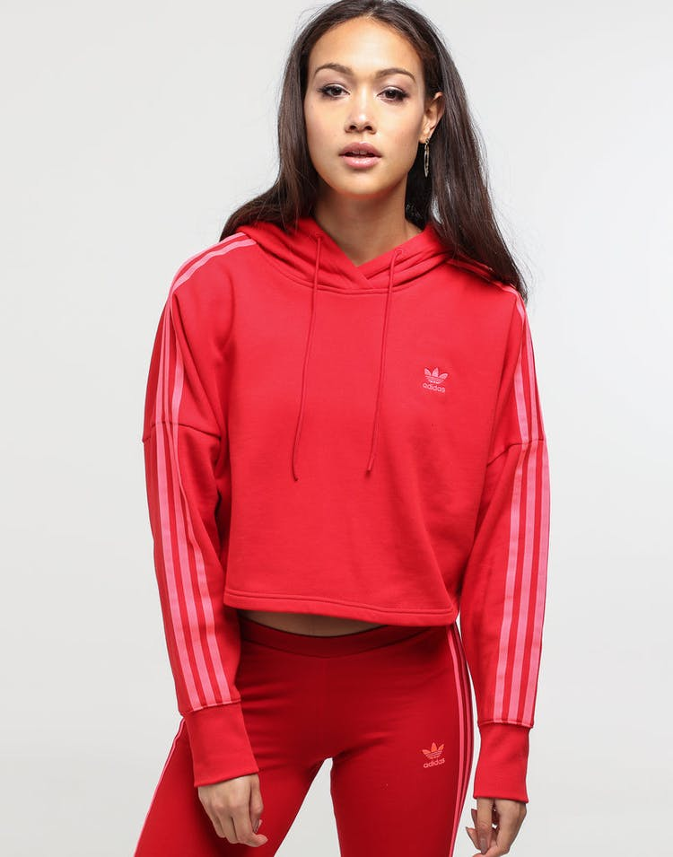 performance sportswear low priced 2018 shoes Adidas Women's Cropped Hood Scarlet
