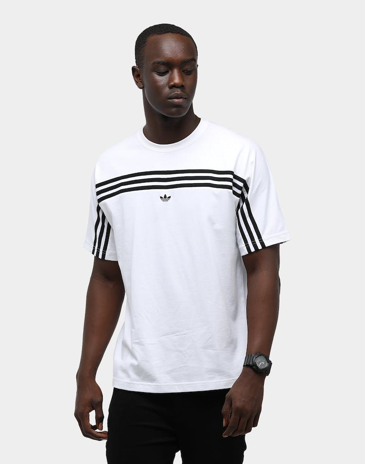 Adidas Men's 3 Stripe SS Tee White/Black