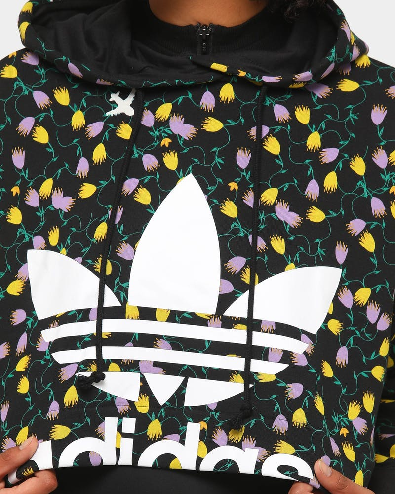 Adidas Women's AOP Crop Hoodie Black/Multi