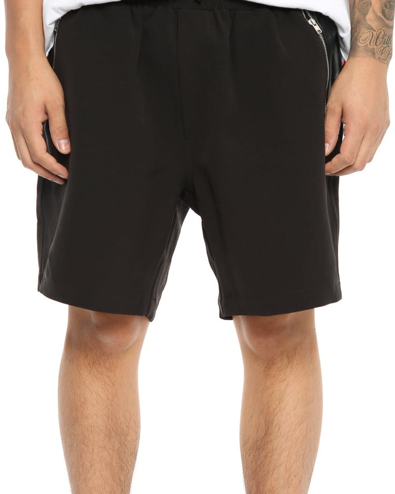 Cahill + Leather Panelled Short Black