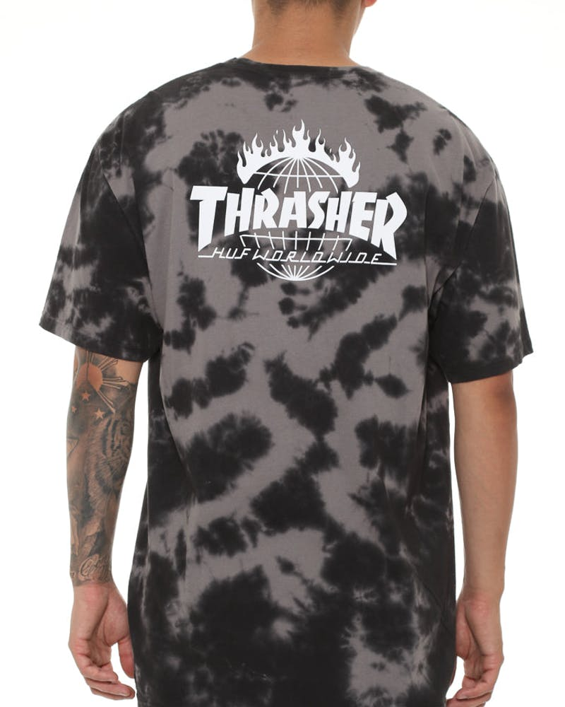 Huf X Thrasher Tds Crystal Wash Tee Black