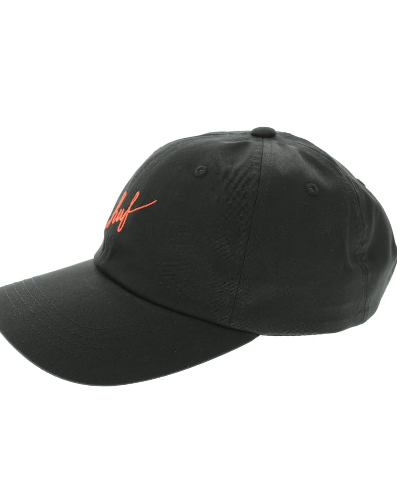 Huf Script Curved 6 Panel Strapback Black