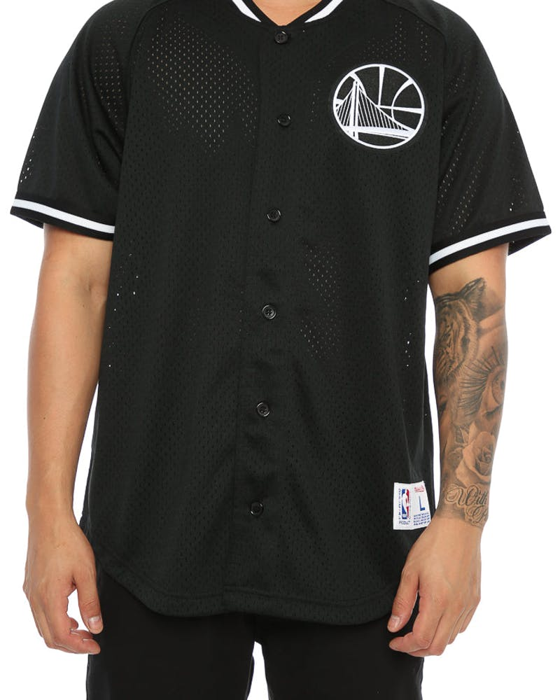 Mitchell & Ness Warriors Pro Mesh Button Up Black