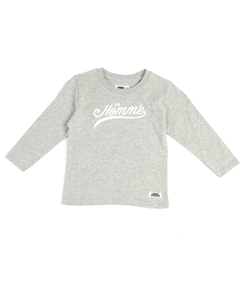 Lil Homme Stealing Bases Long Sleeve Tee Grey