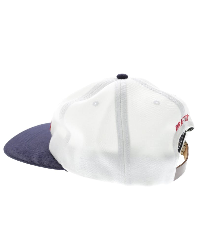 Doug 5 Panel Leather Strapback White/navy
