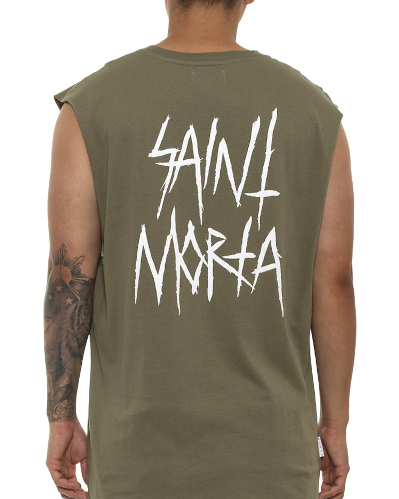Saint Morta Inscribe Oversize Muscle Tee Pale Green