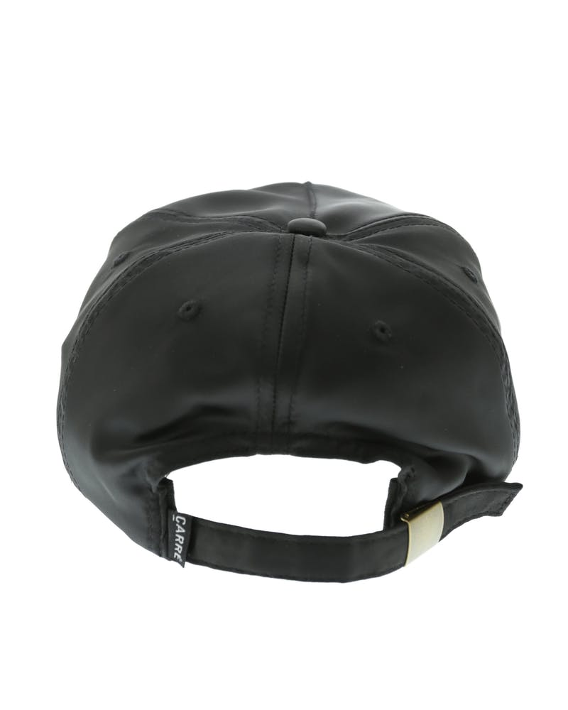 Carré Staple Script Satin Strapback Black/Tan