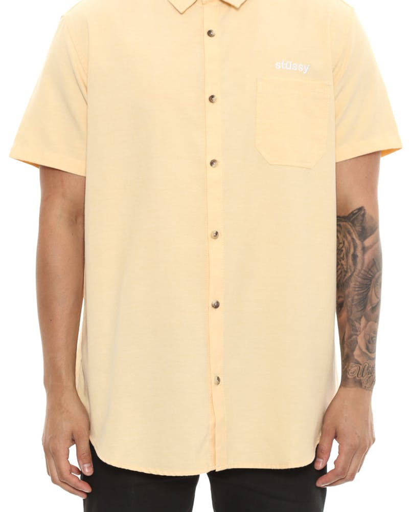 Stussy Italic Oxford Short Sleeve Button up Yellow
