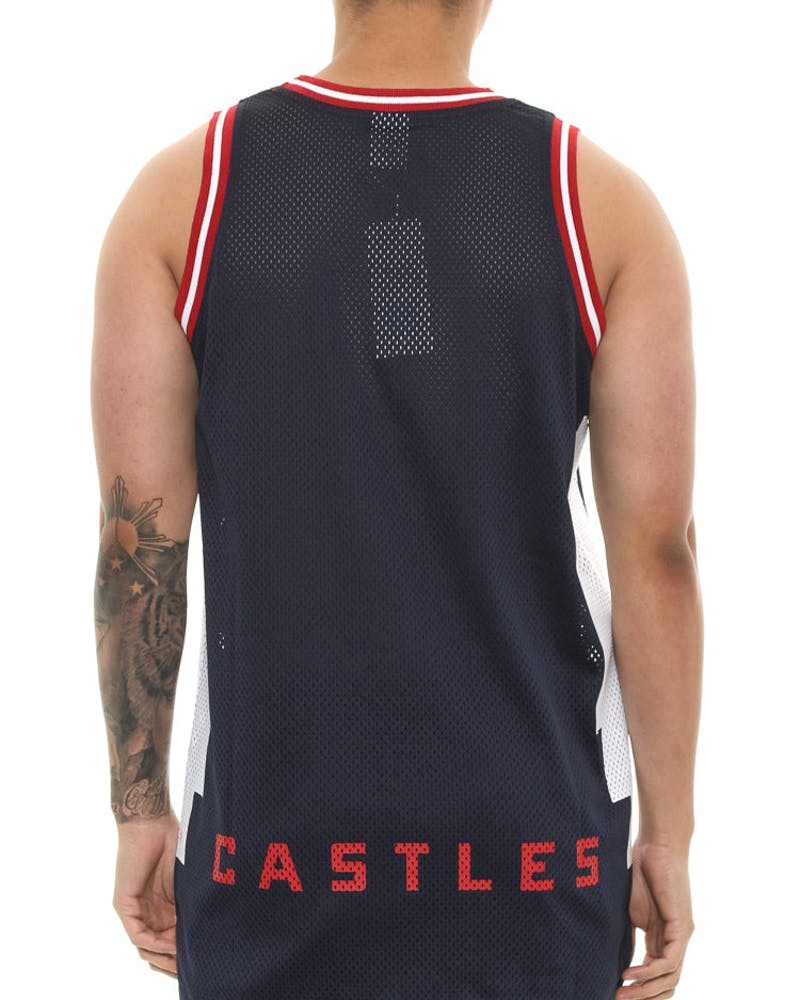 Crooks & Castles Tribal Basketball Jersey Navy
