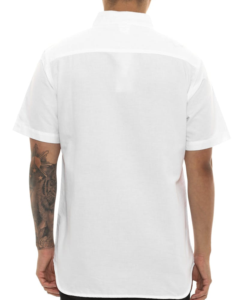 Crooks & Castles Good Fella Short Sleeve Button Up White