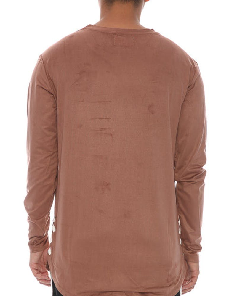 Saint Morta Suede Rope Long Sleeve Tee - Brown