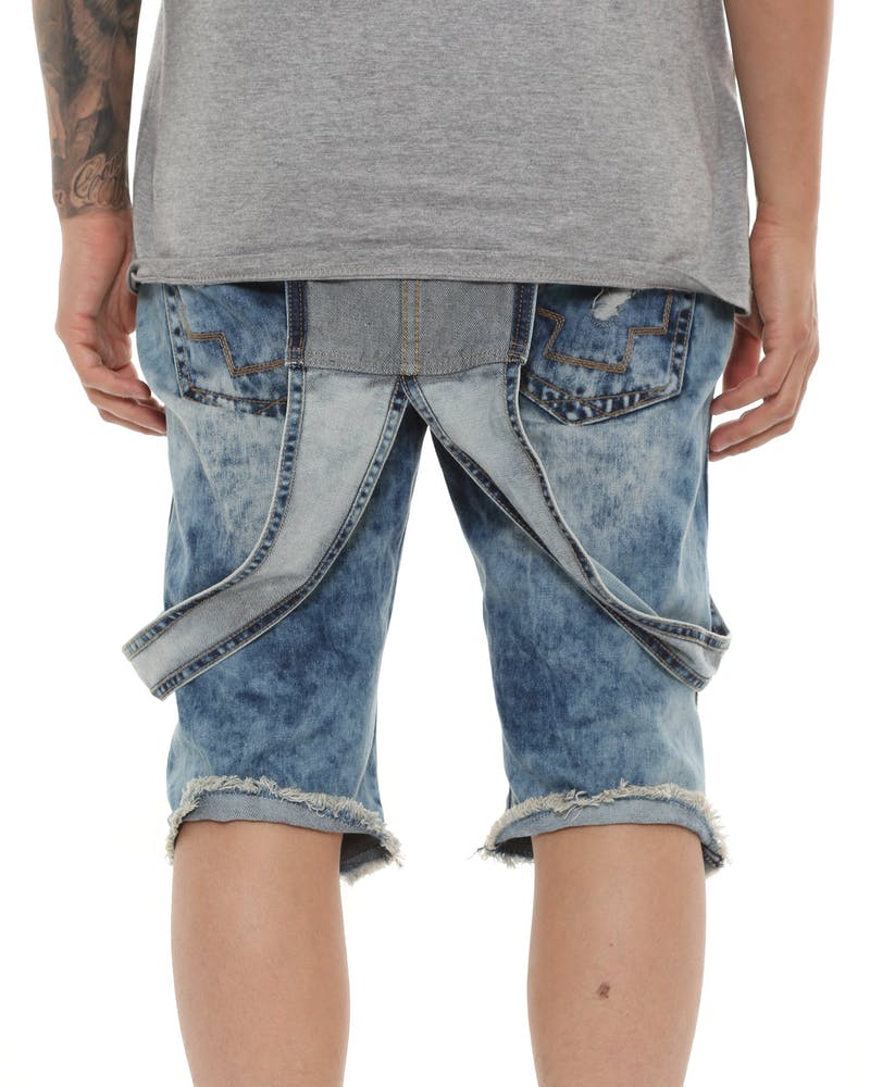 Pink Dolphin Rawedge Cuffed Overall Shorts Indigo