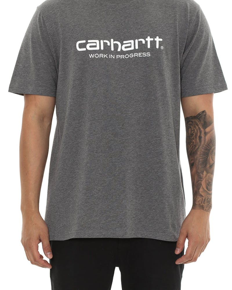 Carhartt WIP Script Short Sleeve Shirt Dark Grey/White