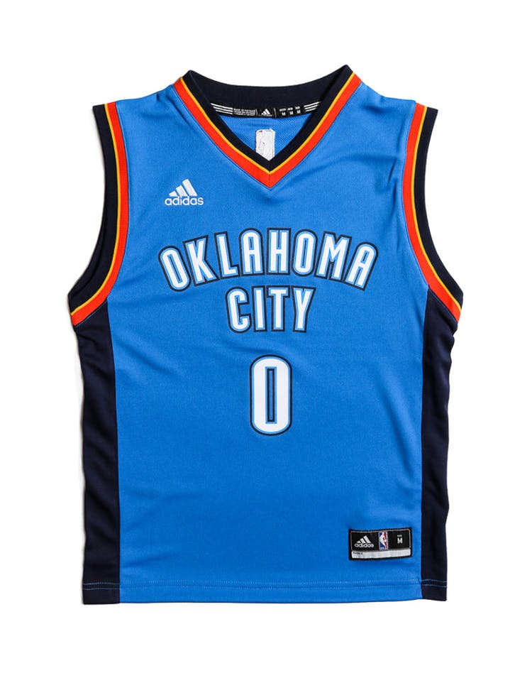 release date e3b4e 814af Adidas Performance OKC Thunder Russell Westbrook Youth Jersey Blue