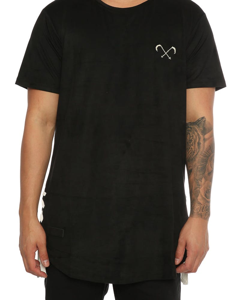 Saint Morta Suede Drawcord Tee Black