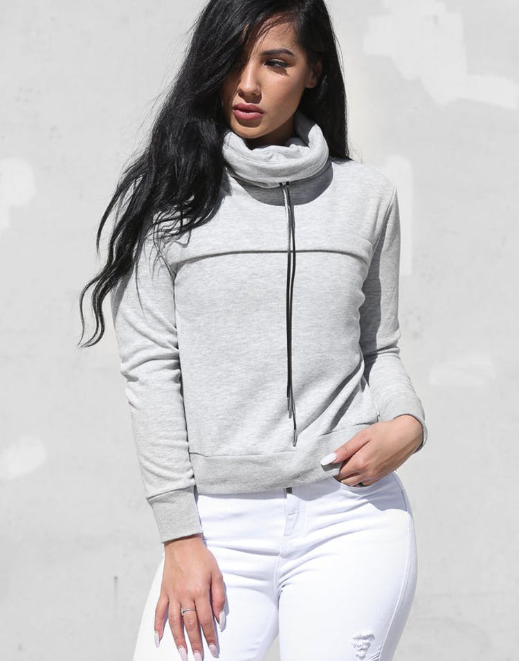 Dead Studios Women's Funnel Zip Sweater Grey