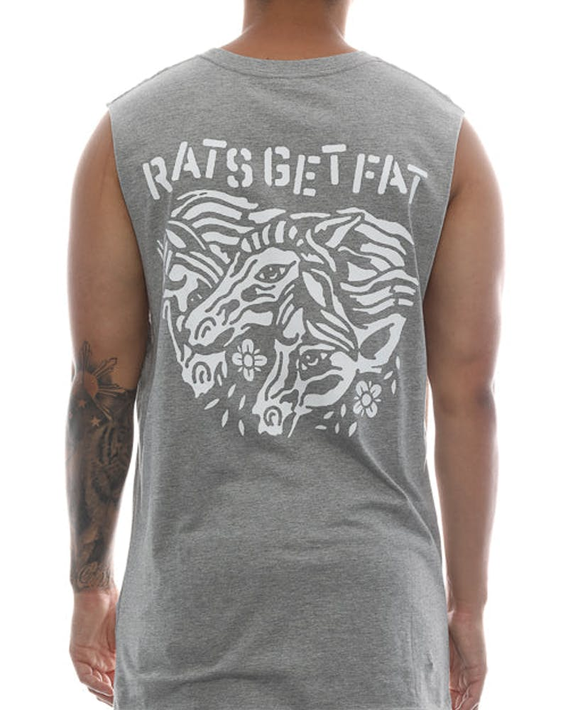 Rats Get Fat Midnight Muscle Tee Grey